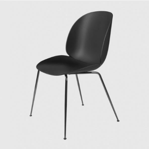 Beetle Dining Chair - Sort krom