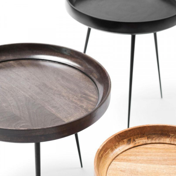 Bowl Table - Black Stained Mango Wood S